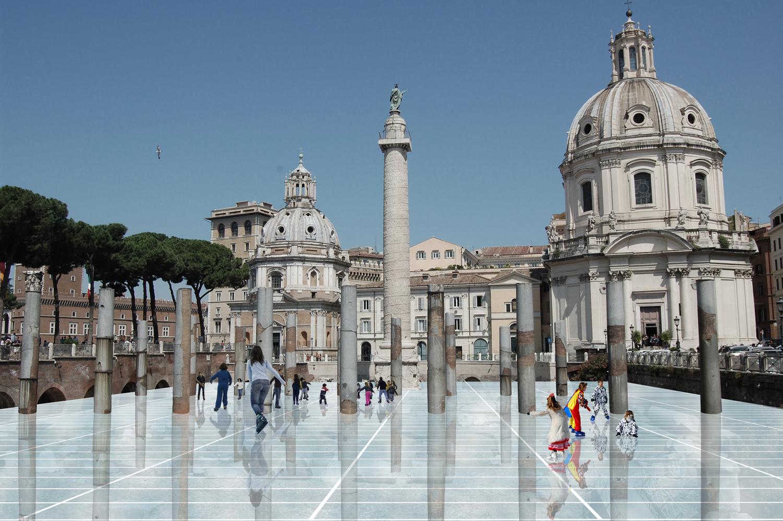 04_archéofolie, la patinoire au Forum de Trajan